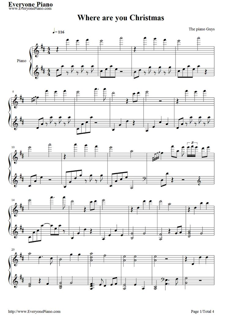 Free Where Are You Christmas-The Piano Guys Sheet Music Preview 1