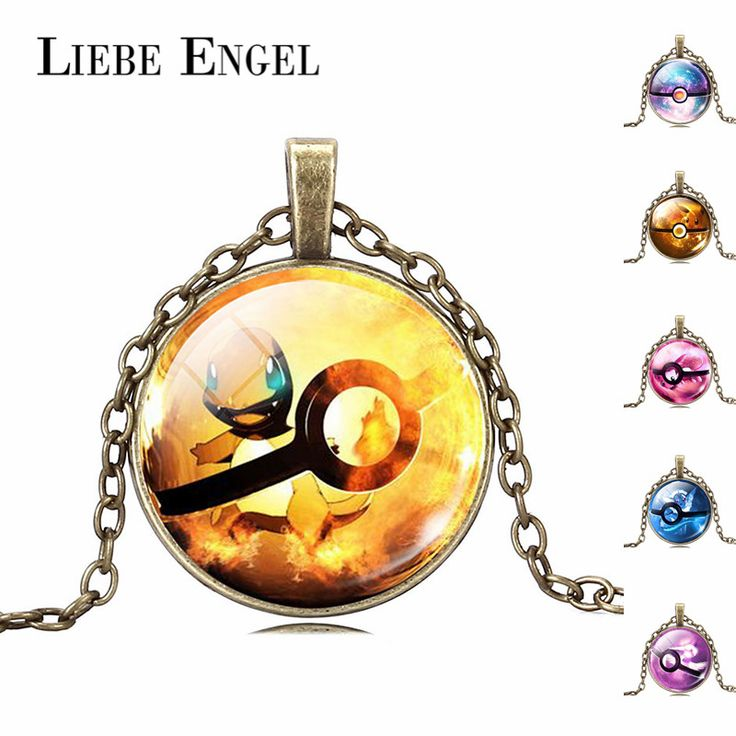 LIEBE ENGEL Wholesale New Arrival Pokemon Jewelry Fashion Cute Pikachu Charmander Pokeball Silver Statement Necklace for Women