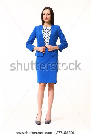 arabian asian eastern brunette business executive woman with straight hair style in blue skirt jacket two pieces suit  high heels shoes full length body portrait standing isolated on white