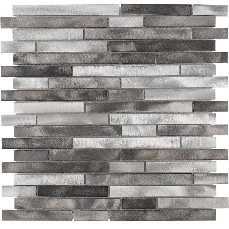 Have this mixed silver backsplash.  The dark gray segments will complement the black stainless of the LG appliances CHIMET80515 | Surfaces Inc.