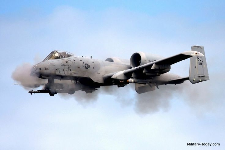 A-10 WARTHOG firing the nose Gatling gun. If the pilot ...
