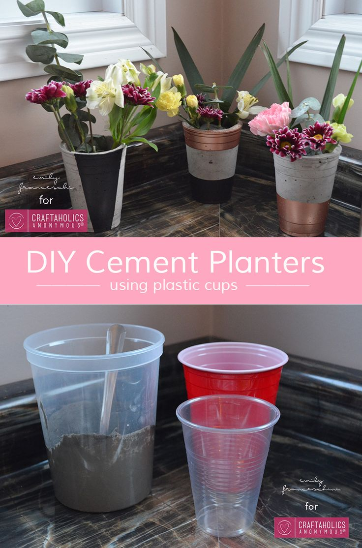 How to Make Cement Planters using Plastic Cups    Easy DIY Spring project! Love the idea of using plastic cups.
