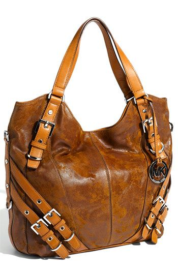 """Michael Kors 'Milo"""" Tote.  gorgeous distressed leather with multi buckle details"""