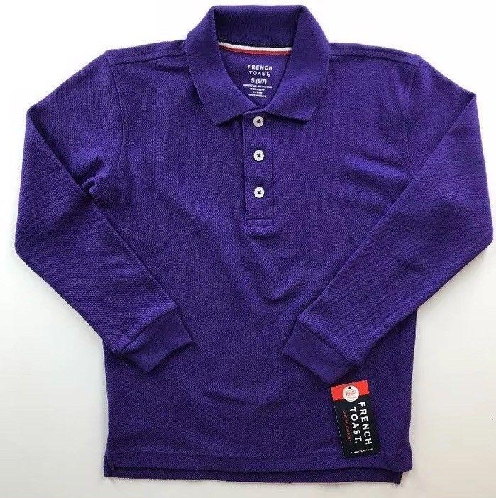 French Toast Girls School Uniform Long Sleeve Polo Small 6/7 Purple Cuffs  | eBay