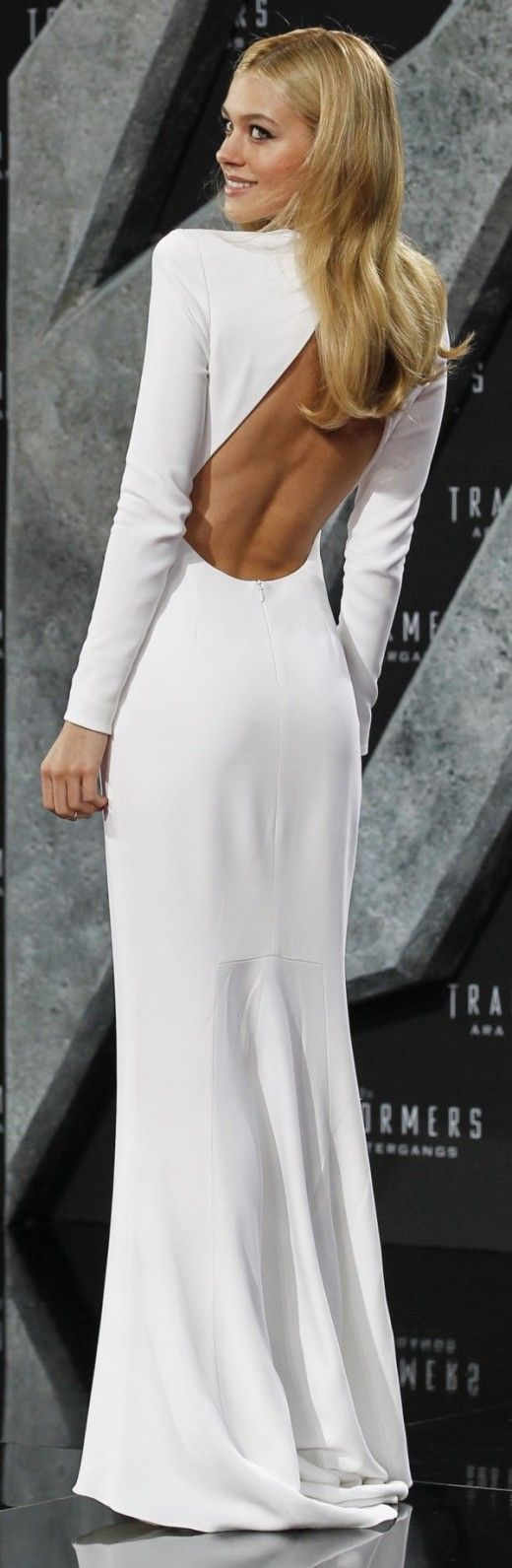 Stunning White Full Sleeve Backless Dress