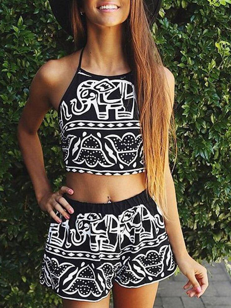 Black Elephant Print Halter Crop Top With Elastic Waist Shorts