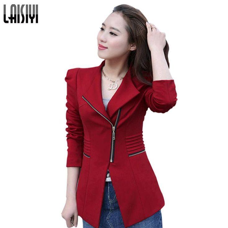 Laisiyi送料無料ジッパースリムビジネス女性ブレザーフォーマルオフィスワークジャケットカーディガンブラックレッドイエロープラスサイズ6172