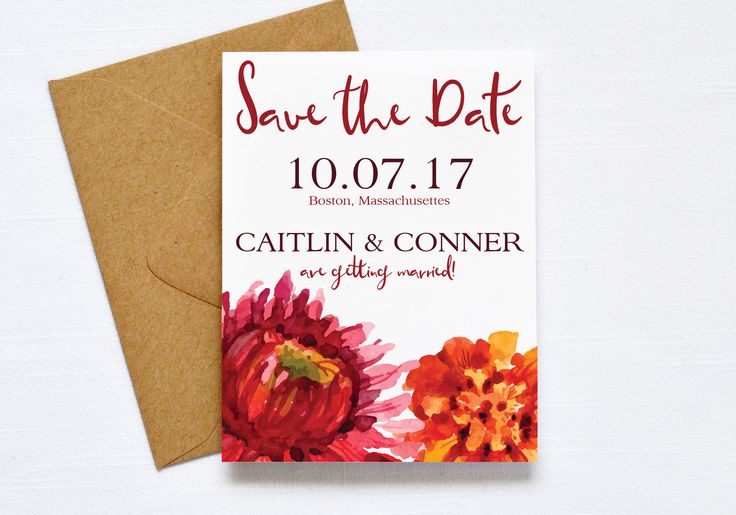 Fall Floral Wedding Save the Date, Flower Wedding, Autum Flowers, Red, Burgudy, Burnt Orange, Fall Wedding, Printable Invitation, DIY #fall #savethedates