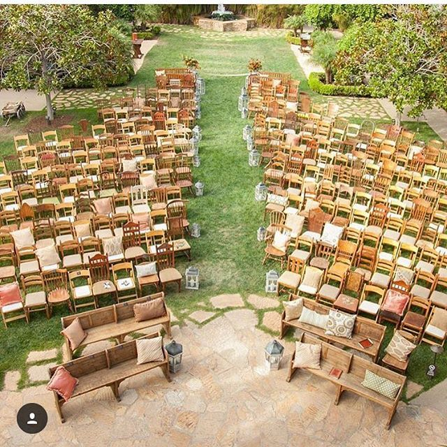 Vintage chairs and pew benches of all styles for a wedding. This is amazing! |  Photo By: @greenweddingshoes