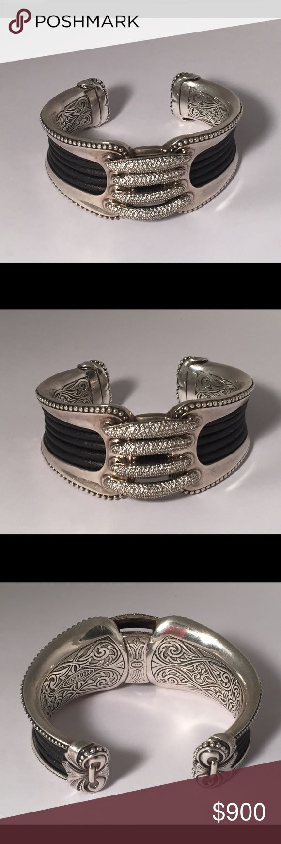 Scott Kay cuff bracelet Stunning!! Has leather, Sterling Silver, and crystals or diamonds. (I believe they are diamonds but not sure!) cuff bracelet. Weighs 127 grams. No lowballers and no trades. Priced for what it's worth. $800 firm. Scott Kay Jewelry Bracelets