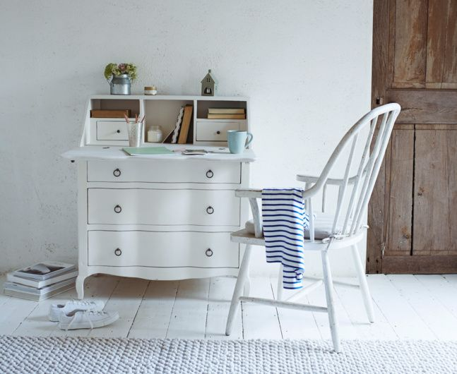 Quill bureau in vintage white