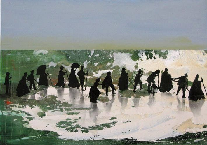 Walk The Line, 2015, acrylic, lacquer, spraypaint on linen, 95 x 130 cm