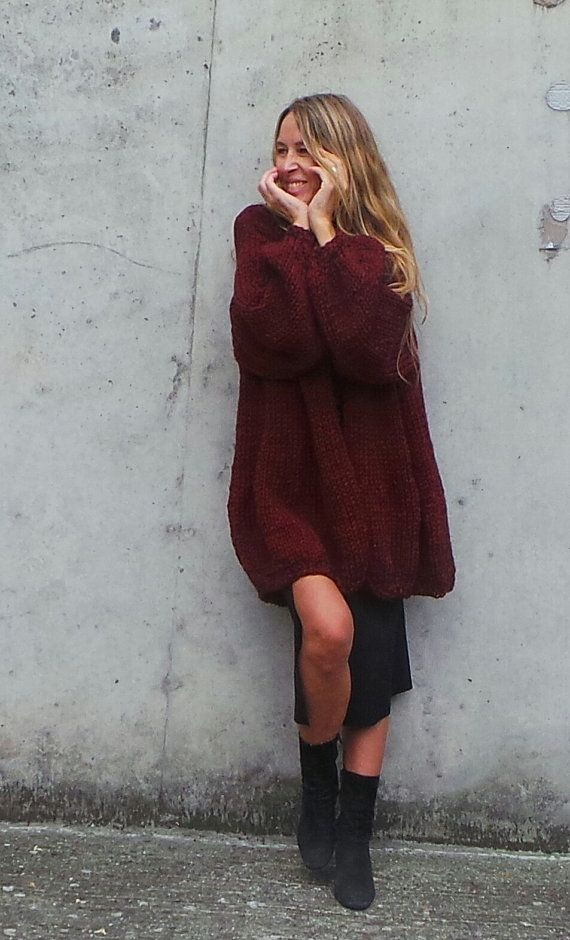 red sweater Cranberry chunky Oversized knit sweater by ileaiye