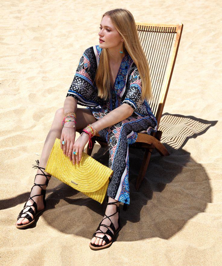 beach dress _prints _straw bag_ gladiator sandals_  shop now @ www.fullahsugah.gr/