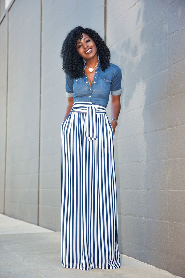 Fitted Denim Shirt   Striped Maxi Skirt (Style Pantry) | Maxi ...