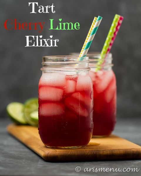 Tart Cherry Lime Elixir: A sweet and sour spiked cherry limeade with recovery boosting benefits! #RecoverWithRed #recipe #fitfluential