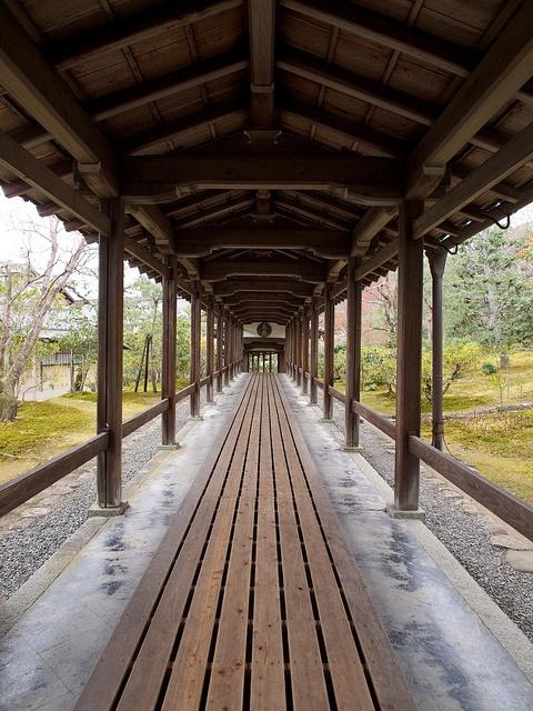 Tenryu-ji temple, Kyoto, Japan path, coverd boardwalk