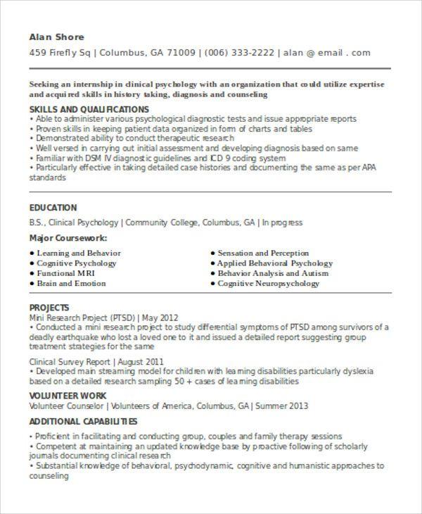 psychology curriculum vitae | Curriculum vitae template ...