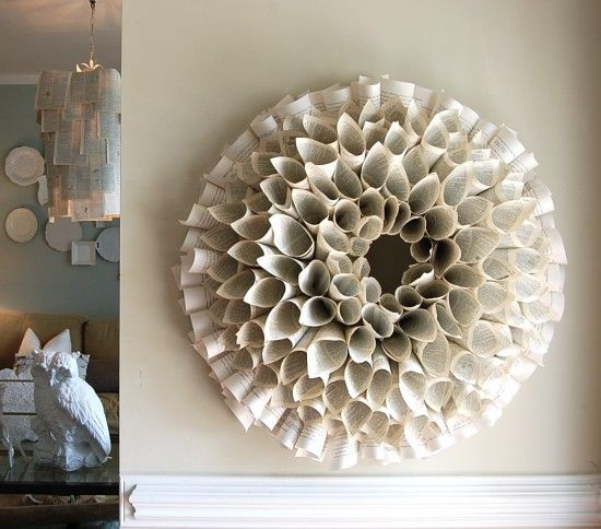 recycled book paper wreath