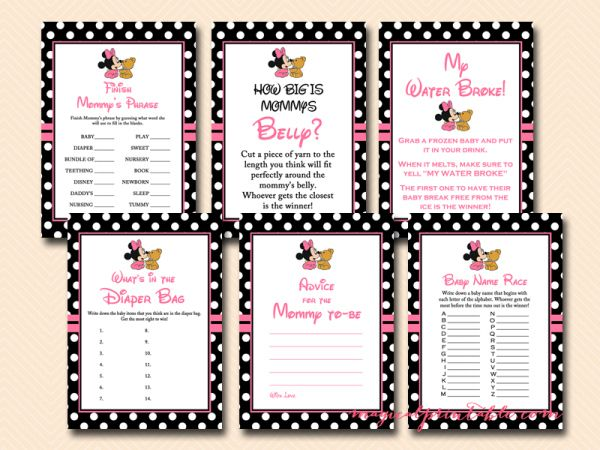 free minnie mouse baby shower games, mickey mouse baby shower games, tlc45