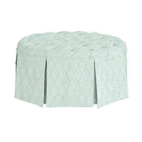 Hayes Round Tufted Ottoman in Belize Spa.  $573
