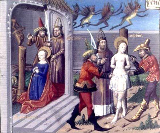 À la prière de sainte Martine martyrisée, des pierres tombent du ciel, ruinent les temples des démons et consument leurs simulacres. (XVe siècle)