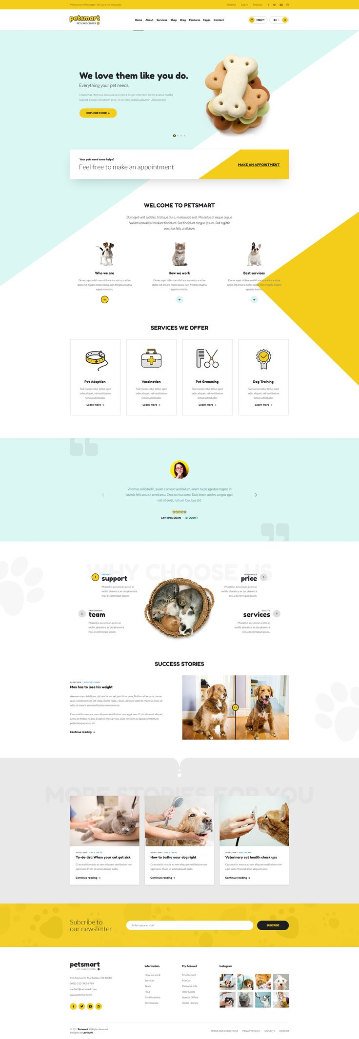 Pet Care, Shop & Hotel | Petsmart #petsmart #psd #psd template • Download ➝ https://themeforest.net/item/pet-care-shop-hotel-petsmart/19448420?ref=pxcr