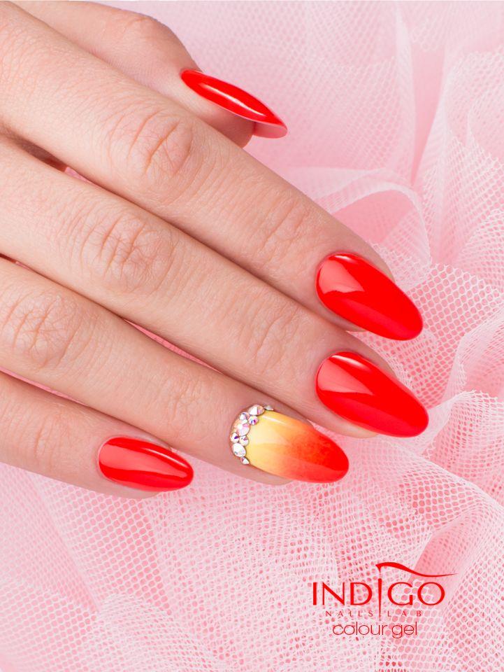 by Paulina Walaszczyk, Follow us on Pinterest. Find more inspiration at www.indigo-nails.com #nailart #ombre #indigo #red #neon #swarovski