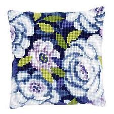 "Vervaco BLUE FLOWERS Chunky Cross Stitch Cushion Front Kit 16"" x 16"""