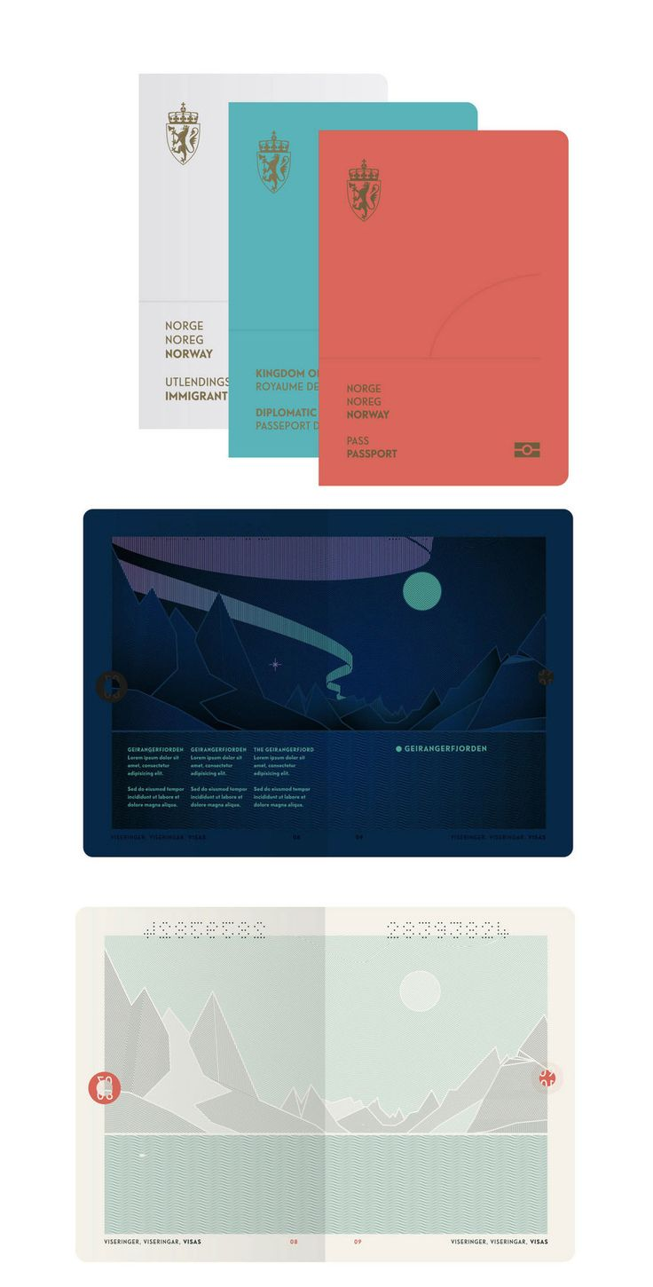 """Norway has a new passport, """"The Norwegian Landscape"""" designed by Neue Design Studio. The new passport includes an interior design that changes under UV light."""