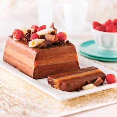 Bûche glacée à la mousse de chocolat, caramel et fleur de sel - Recettes - Cuisine et nutrition - Pratico Pratiques - Noël - Dessert