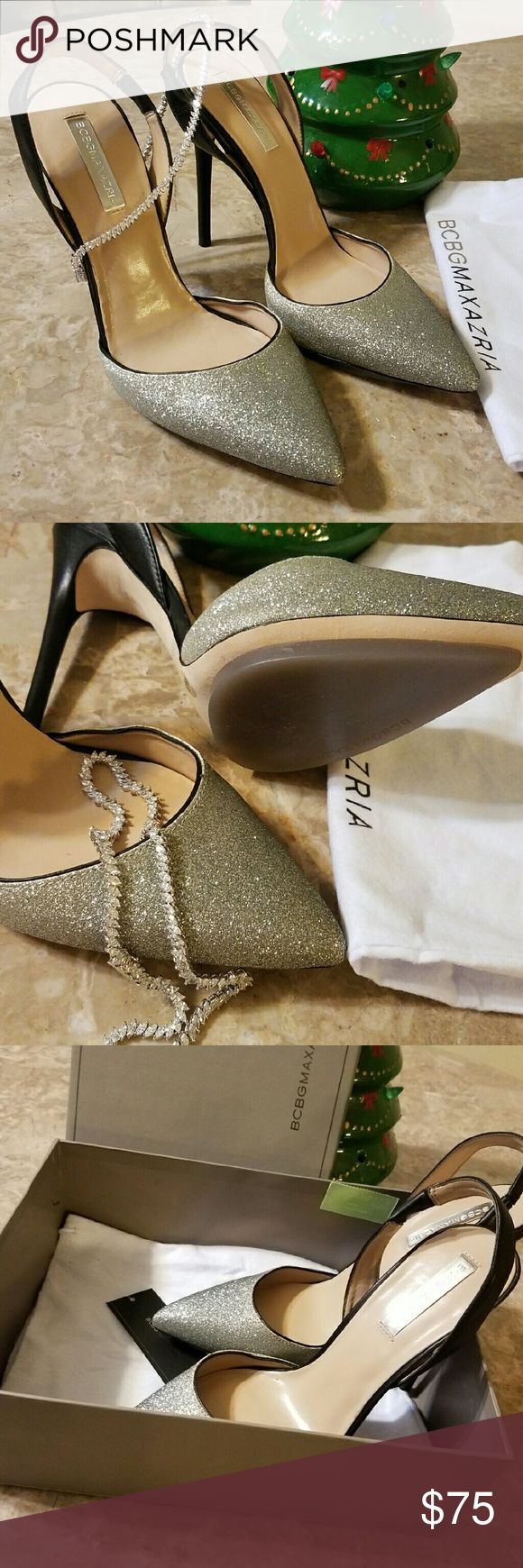 Bcbg slingback pumps size 9 Silver and black leather slingback  pump shoes. Very comfortable very glamorous. Heel height 4in garment bag included (nwt). BCBG Shoes Heels