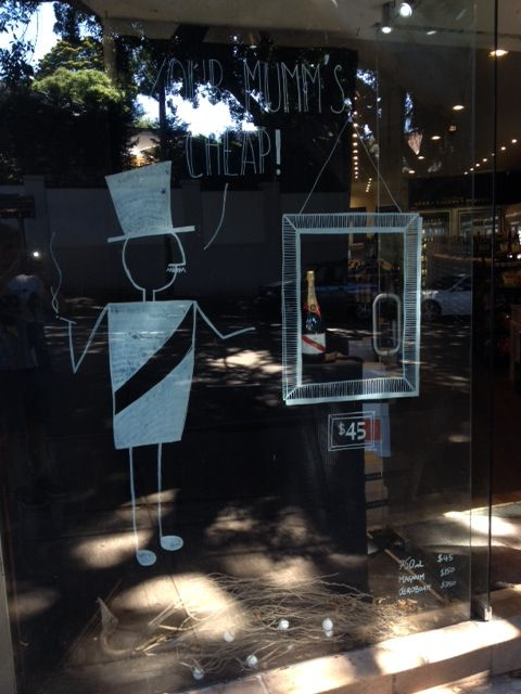 Come in and check out our hilarious window display while it's still there! Oh and grab yourself some Mumm for a ridiculously cheap $45 a bottle while you're at it