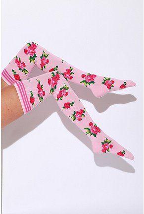 Rose thigh-high socks
