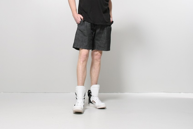 elastic waist short - Elastic waist shorts in washed black by A.OK. Relaxed shorts with 2 side and back pockets. Button fly closure and drawstring waist.   Model wears size M - 13 W, 11.5 rise, 7.5 inseam  100% cotton