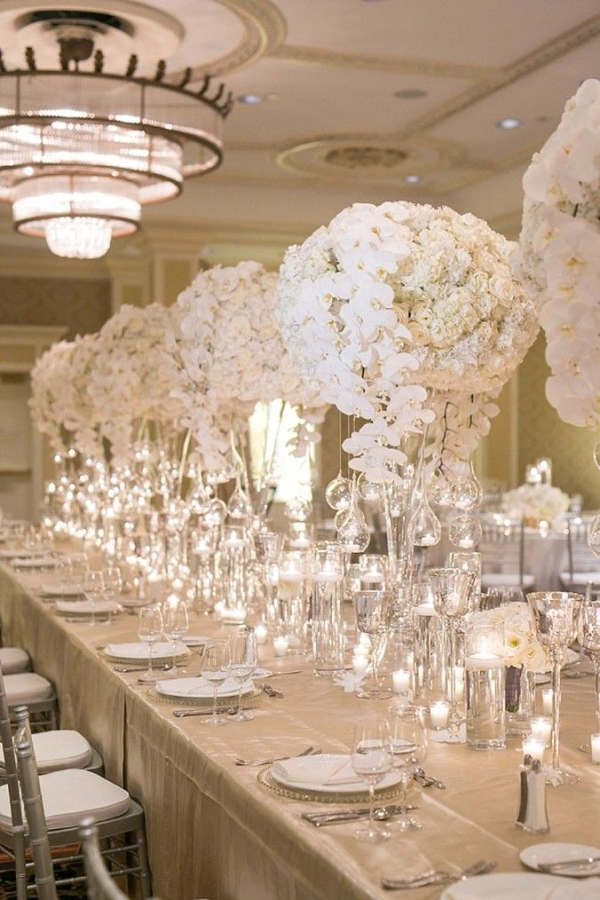 Design Portfolio | Planner + Designer | Elyse Jennings Weddings, Photo | Greer Gattuso Photography, Florist | Bella Blooms, Venue | Roosevelt Hotel, New Orleans wedding, white wedding, head table, glam, glamorous wedding, luxury, orchids, ballroom wedding