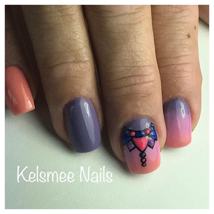 Ombre Nails Purple Orange & Pink