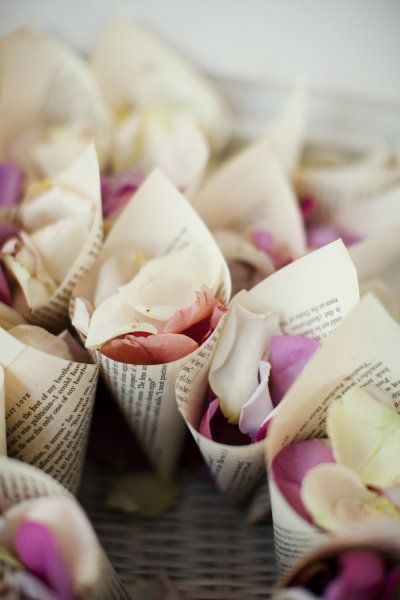 Rose Petal Toss - Find an old (but obviously not a collectible:) book and rip out the pages for the cones.