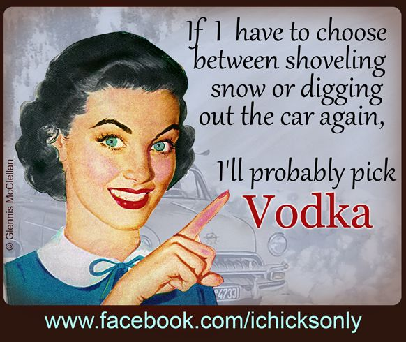 If I have to choose between shoveling snow or digging the car out again - I choose VODKA