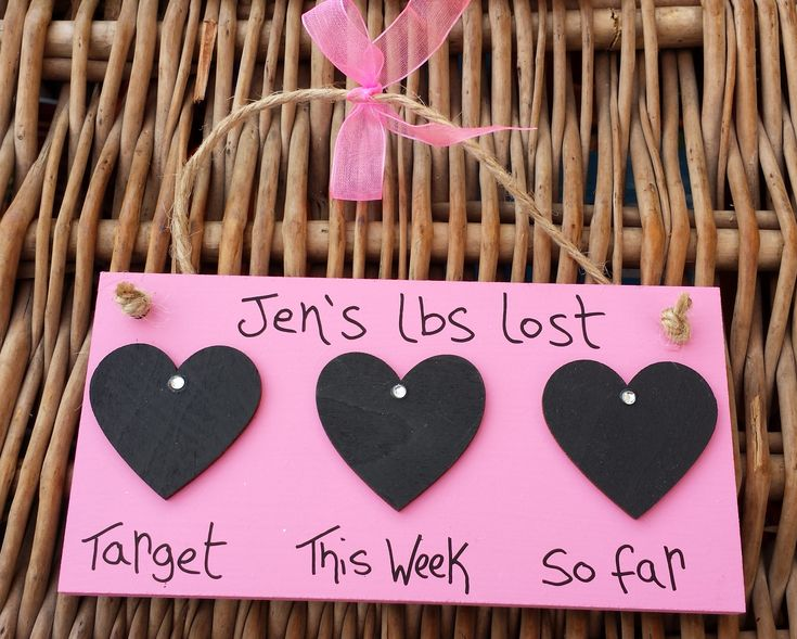 Pink Lbs Lost Countdown Plaque with 3 hearts - Little Miss Scrabbled