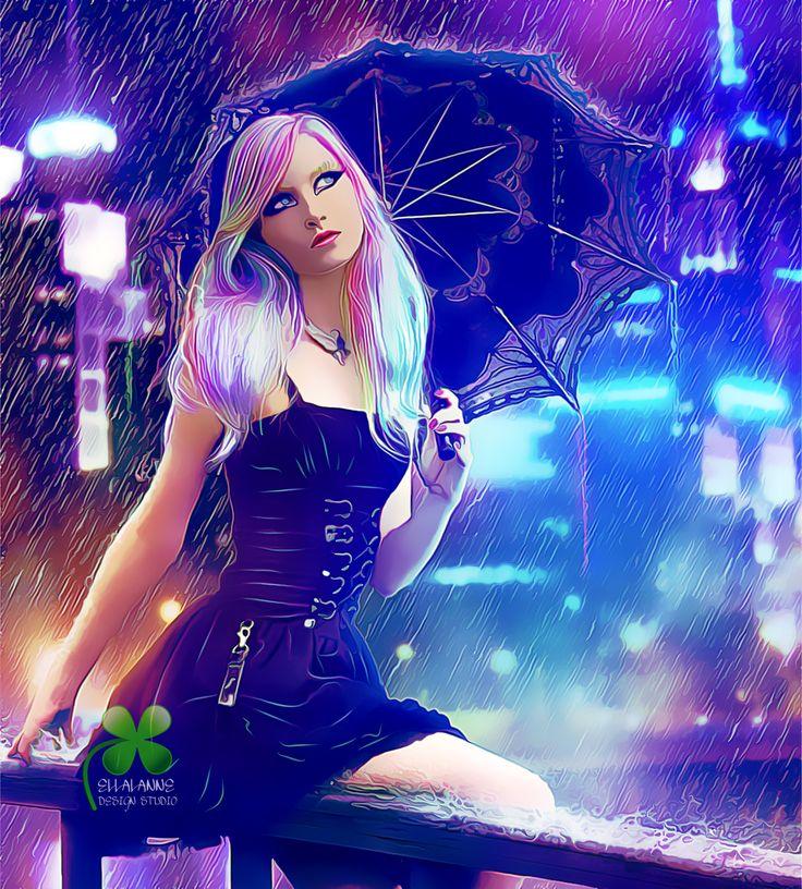 Waiting On Him ... #ellalanne #ellalannedesignstudio #digitalart #digitalpainting #artist #designer #creative #photomanipulation #rain #raindrops #umbrella #gothic #gothiclady #gothicstyle