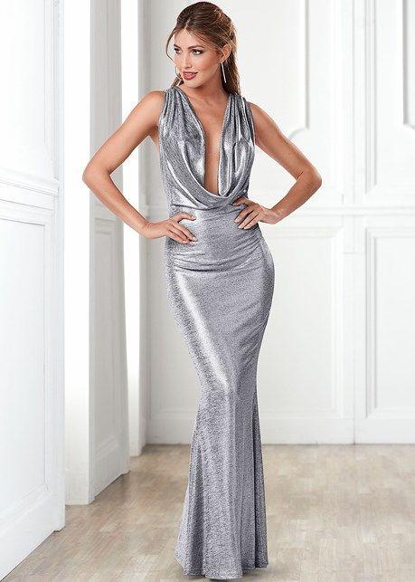 Front view Metallic Long Dress