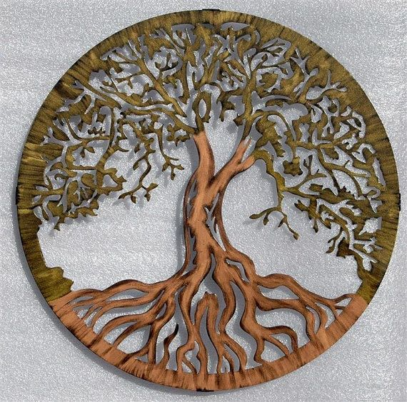 Tree of Life by Humdinger Designs.  This hand painted Tree of Life is 24 inches diameter and comes with a 1 standoff that is also a hanger.