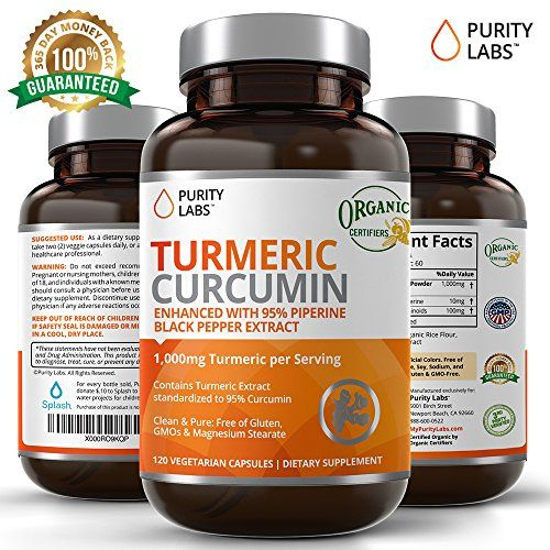 Certified Organic Turmeric Curcumin Supplement 120 Count 1,100mg Tumeric capsules per Serving with 95% Curcuminoids and Piperine Black Pepper Extract Non-GMO Gluten-Free Increased Bioavailability  CERTIFIED ORGANIC Tumeric Curcumin Capsules are sourced from Certified Organic Turmeric root (curcuma longa) containing the compound, Curcumin and certified organic by Certified Organic Farmers  TRY RISK FREE - 100% MONEY BACK GUARANTEE: FEEL GREAT OR YOUR MONEY BACK!! EVERY PURCHASE IS BACKE...