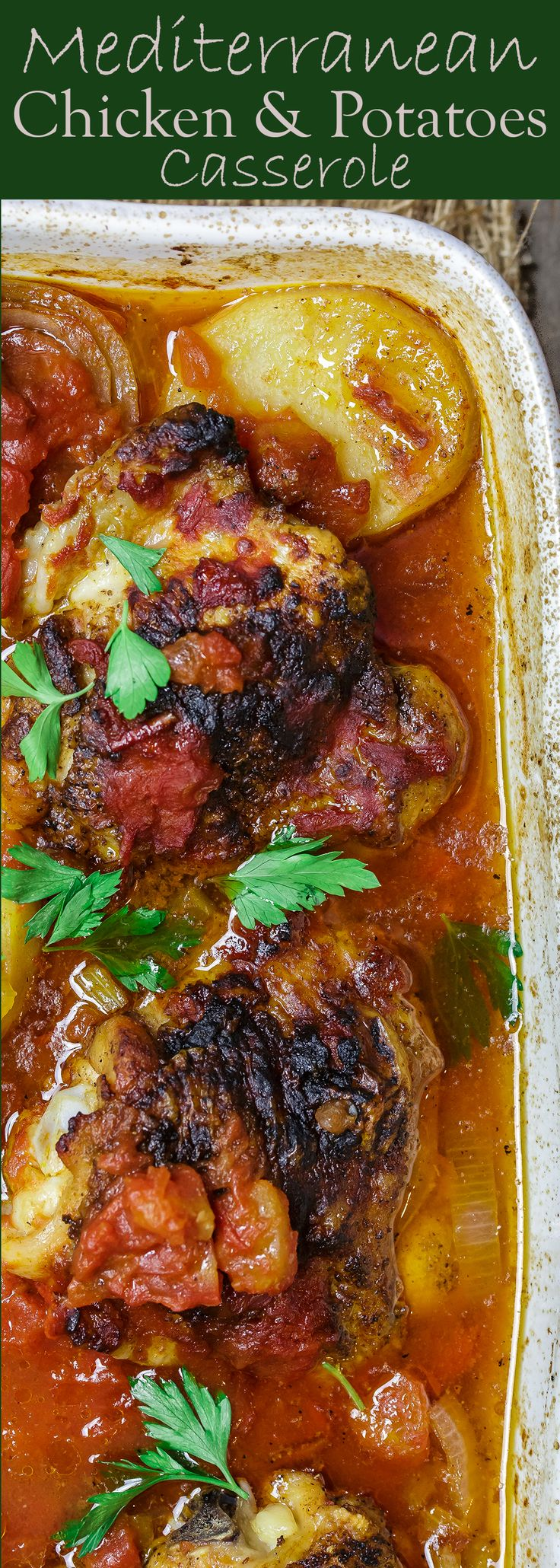 """Saucy"" Mediterranean Chicken and Potato Casserole! Chicken thighs, spiced the Mediterranean way then cooked with potatoes, onions, and carrots in a ""saucy"" tomato broth! Hearty, healthy, and delicious!"