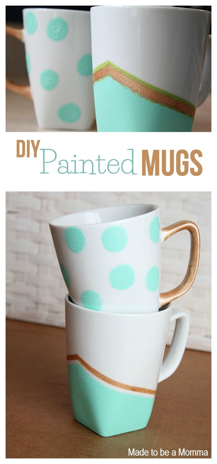 Diy Painted Mugs Collage | Ceramic paint makes these store bought mugs extra special!