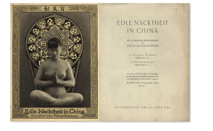 Edle Nacktheit in China, four page promotional folder, front and back