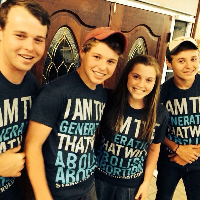 "The Duggar Family, Joseph, Jeremiah, JoyAnna, and Jedidiah.  I want the shirt.  It says, ""I am the generation that will abolish abortion"""