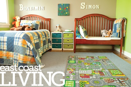 We love this bright colourful bedroom, furnished by Ikea, with lots of space for play. Each bedroom in the home has its own adjoining bathroom.  Featured in the Summer 2012 issue of East Coast Living. Photo by Joanna Nickerson, Studio Rouge