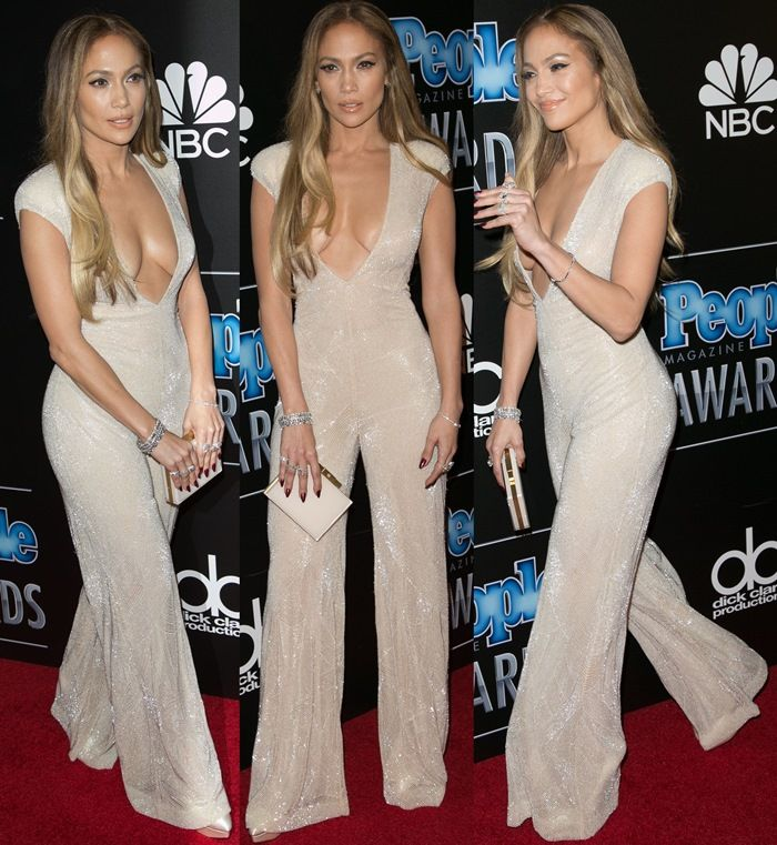 Jennifer Lopez Flaunts Major Cleavage in Sparkly Jumpsuit and Charlotte Olympia Shoes